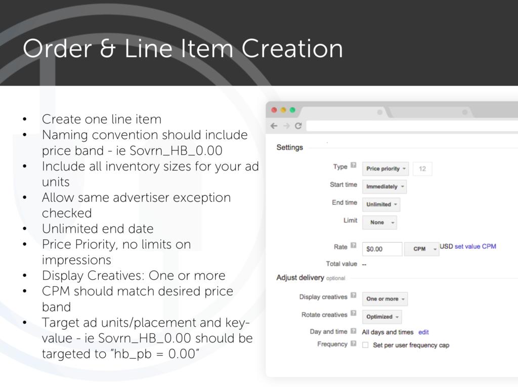 header bidding - Order and Line item